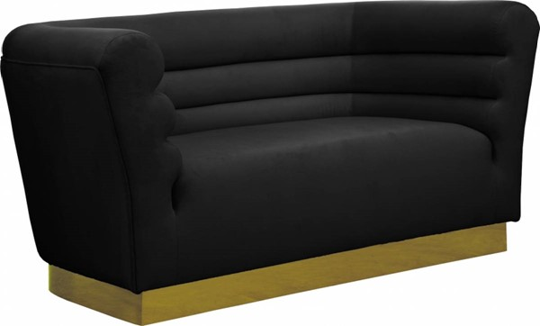 Design Edge Lapstone  Black Velvet Loveseat DE-23463727