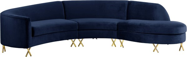 Meridian Furniture Serpentine Navy Velvet 3pc Sectional MRD-671Navy-Sectional