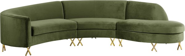 Meridian Furniture Serpentine Olive Velvet 3pc Sectional MRD-671Olive-Sectional