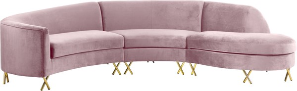 Meridian Furniture Serpentine Pink Velvet 3pc Sectional MRD-671Pink-Sectional