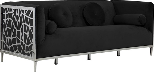 Meridian Furniture Opal Black Velvet Sofa MRD-672Black-S