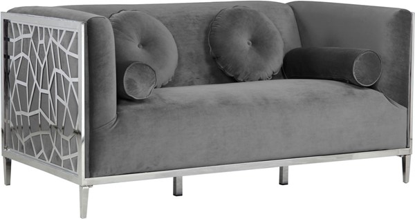 Design Edge Bedourie  Grey Velvet Loveseat DE-22780550