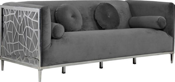 Meridian Furniture Opal Grey Velvet Sofa MRD-672Grey-S