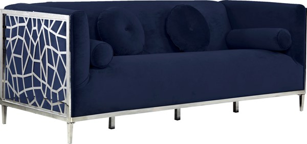 Meridian Furniture Opal Navy Velvet Sofa MRD-672Navy-S