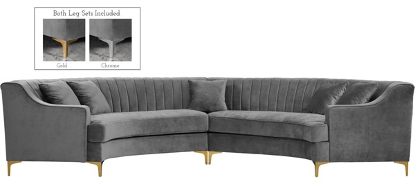 Meridian Furniture Jackson Grey Velvet 2pc Sectional MRD-673Grey-Sectional