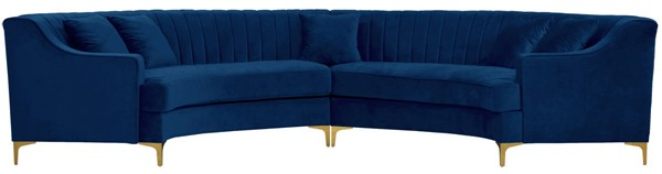 Meridian Furniture Jackson Navy Velvet 2pc Sectional MRD-673Navy-Sectional