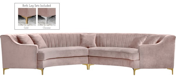 Meridian Furniture Jackson Pink Velvet 2pc Sectional MRD-673Pink-Sectional