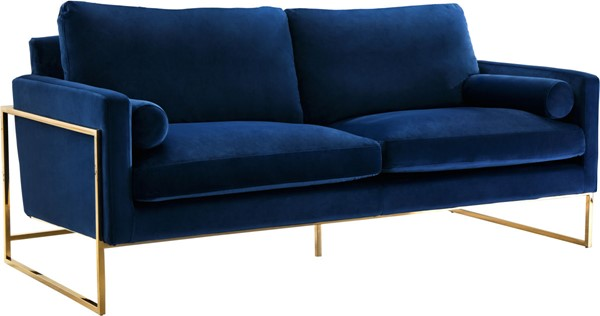 Meridian Furniture Mila Navy Velvet Sofa MRD-678Navy-S