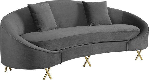 Design Edge Cunnamulla  Grey Velvet Sofa DE-23030904