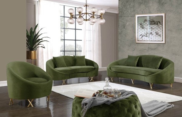 Meridian Furniture Serpentine Olive 3pc Living Room Set MRD-679Olive-LR-S1