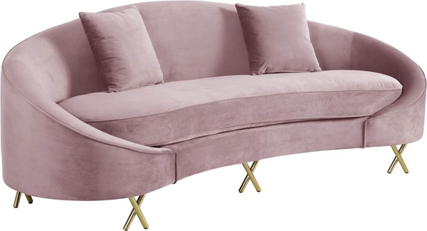 Meridian Furniture Serpentine Pink Velvet Sofa MRD-679Pink-S