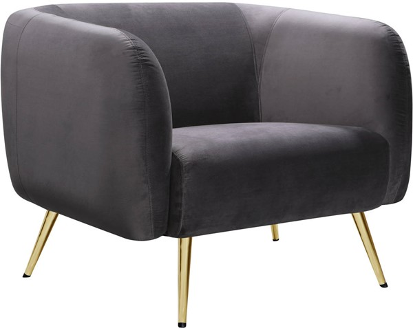 Meridian Furniture Harlow Grey Velvet Chair MRD-685Grey-C