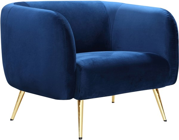 Meridian Furniture Harlow Navy Velvet Chair MRD-685Navy-C