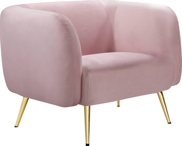 Meridian Furniture Harlow Pink Velvet Chair MRD-685Pink-C