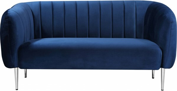 Design Edge Ingham  Navy Velvet Loveseat DE-23272788