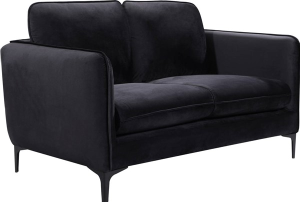 Design Edge Bray Park  Black Velvet Loveseat DE-23273171