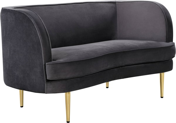 Design Edge Highfields  Grey Velvet Loveseat DE-23273348