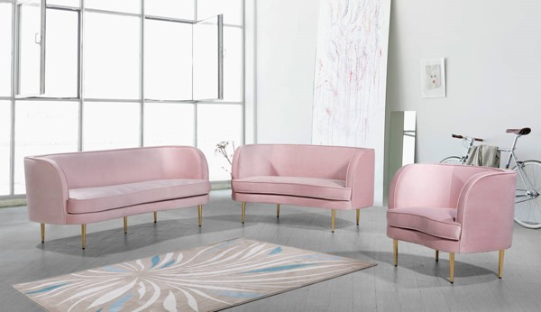 Meridian Furniture Vivian Pink Velvet 3pc Living Room Set MRD-694-Pink-LR-S1