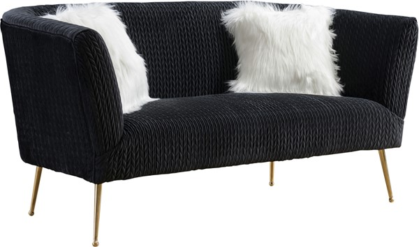 Meridian Furniture Monroe Velvet Loveseats MRD-696Black-LS-VAR
