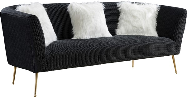 Meridian Furniture Monroe Velvet Sofa MRD-696Black-SF-VAR
