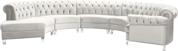Meridian Furniture Anabella Cream Velvet 5pc Sectional MRD-697Cream-Sec-5PC