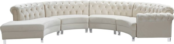 Design Edge Katoomba  Cream Velvet 4pc Sectionals DE-23462411