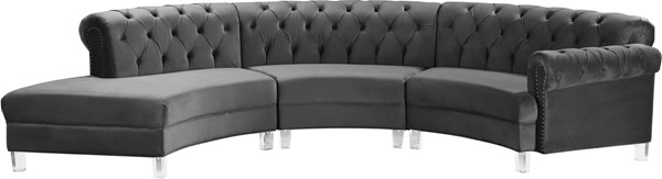 Meridian Furniture Anabella Grey Velvet 3pc Sectional MRD-697Grey-Sec-3PC