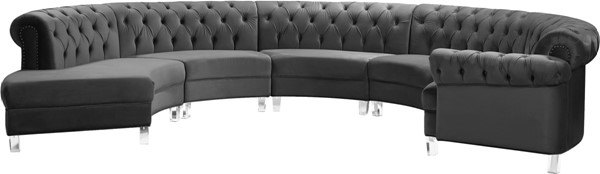 Meridian Furniture Anabella Grey Velvet 5pc Sectional MRD-697Grey-Sec-5PC