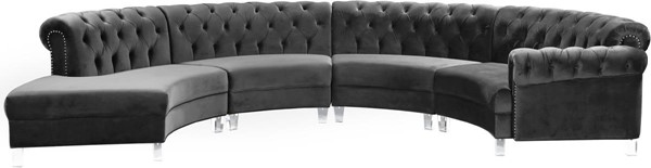 Design Edge Katoomba  Grey Velvet 4pc Sectional DE-23462431