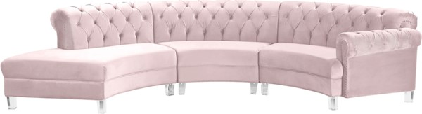 Meridian Furniture Anabella Pink Velvet 3pc Sectional MRD-697Pink-Sec-3PC