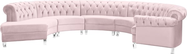 Meridian Furniture Anabella Pink Velvet 5pc Sectional MRD-697Pink-Sec-5PC