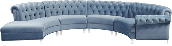 Meridian Furniture Anabella Sky Blue Velvet 4pc Sectional MRD-697Skyblu-Sectional