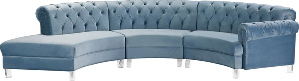 Meridian Furniture Anabella Sky Blue Velvet 3pc Sectional MRD-697Skyblu-Sec-3PC