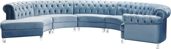 Meridian Furniture Anabella Sky Blue Velvet 5pc Sectional MRD-697Skyblu-Sec-5PC