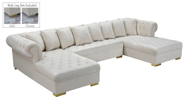 Meridian Furniture Presley Cream 3pc Sectional MRD-698Cream-Sectional