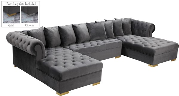 Meridian Furniture Presley Grey 3pc Sectional MRD-698Grey-Sectional