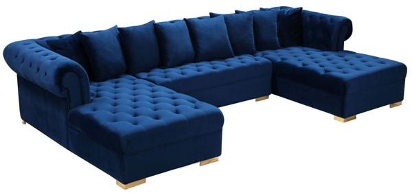 Meridian Furniture Presley Navy 3pc Sectional MRD-698Navy-Sectional