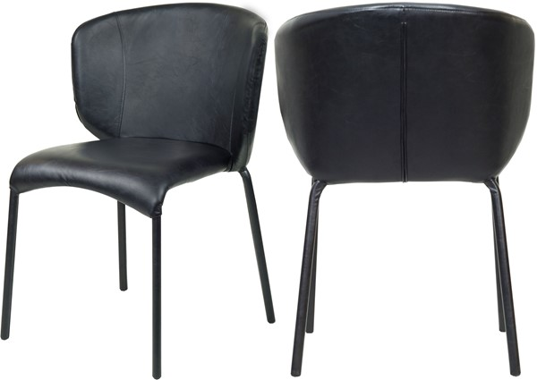 2 Meridian Furniture Drew Black Faux Leather Dining Chairs MRD-703Black-C