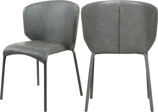2 Meridian Furniture Drew Grey Faux Leather Dining Chairs MRD-703Grey-C