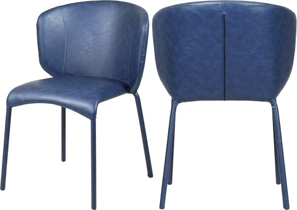 2 Meridian Furniture Drew Navy Faux Leather Dining Chairs MRD-703Navy-C