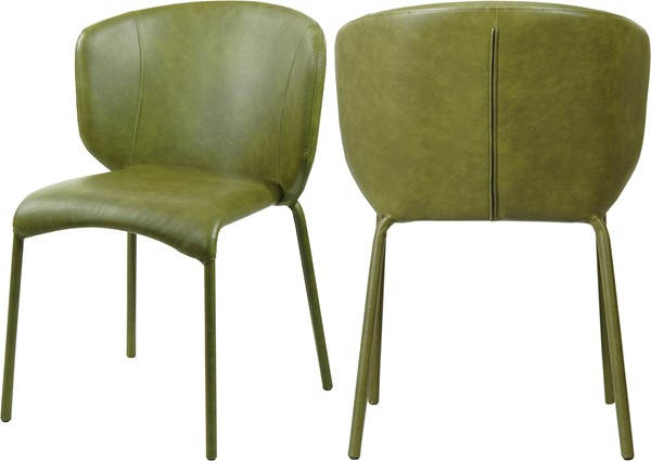 2 Meridian Furniture Drew Olive Green Faux Leather Dining Chairs MRD-703Olive-C