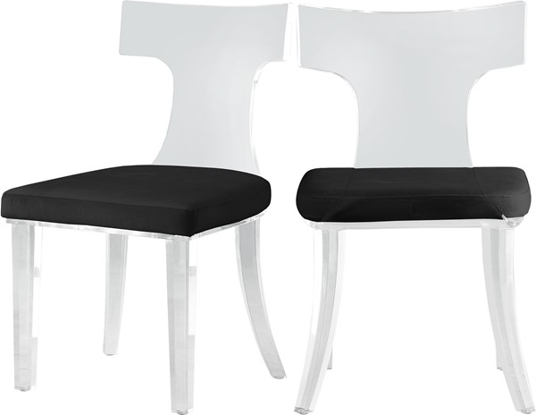 2 Meridian Furniture Lucid Black Velvet Dining Chairs MRD-705Black-C