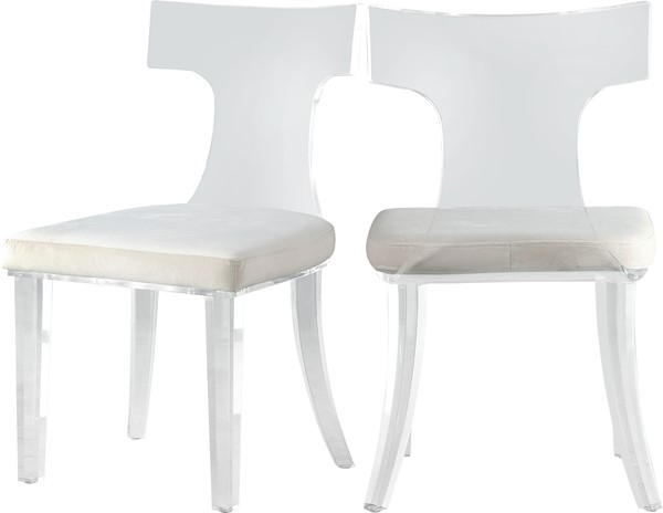 2 Meridian Furniture Lucid Cream Velvet Dining Chairs MRD-705Cream-C