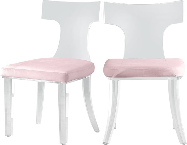 2 Meridian Furniture Lucid Pink Velvet Dining Chairs MRD-705Pink-C
