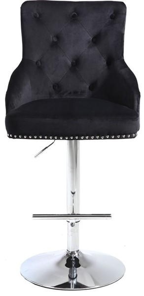Meridian Furniture Claude Black Velvet Adjustable Stool MRD-709Black