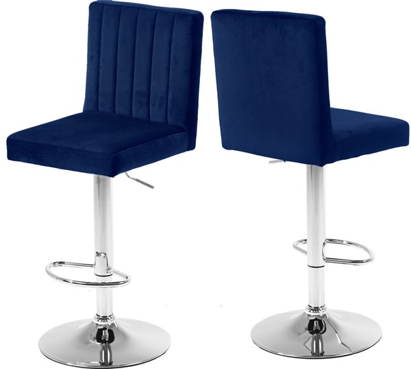 2 Meridian Furniture Joel Navy Velvet Adjustable Stools MRD-710Navy