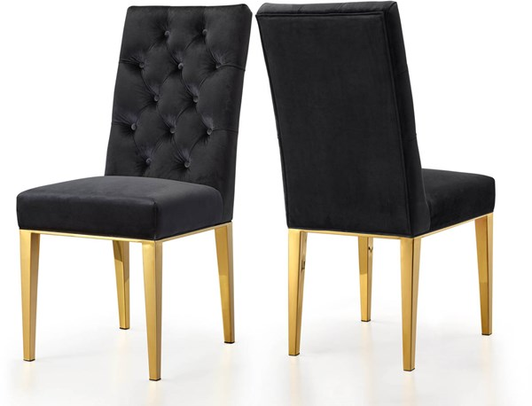 Design Edge Mathoura 2  Black Velvet Dining Chairs DE-22248304
