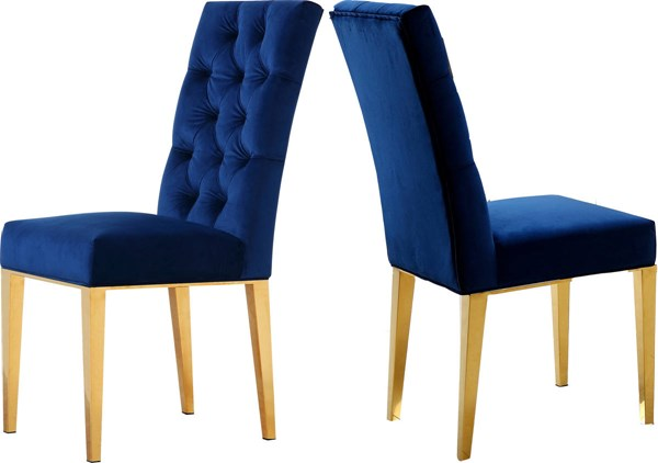 Design Edge Mathoura 2  Navy Velvet Dining Chairs DE-21995294