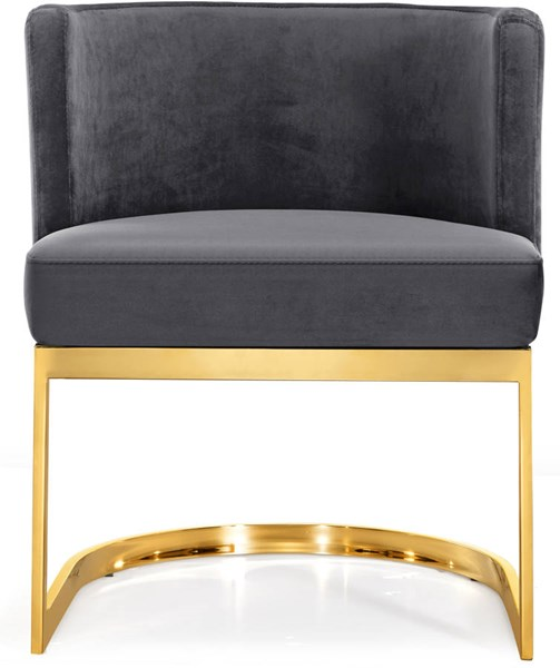 Design Edge Port Macquarie  Grey Velvet Gold Base Dining Chair DE-22248978