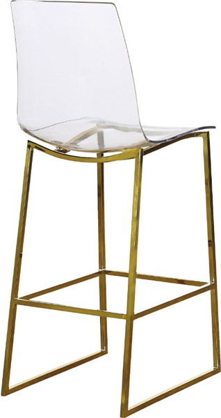 Meridian Furniture Lumen Gold Metal Acrylic Stool MRD-719